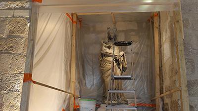 La Vierge pendant les travaux