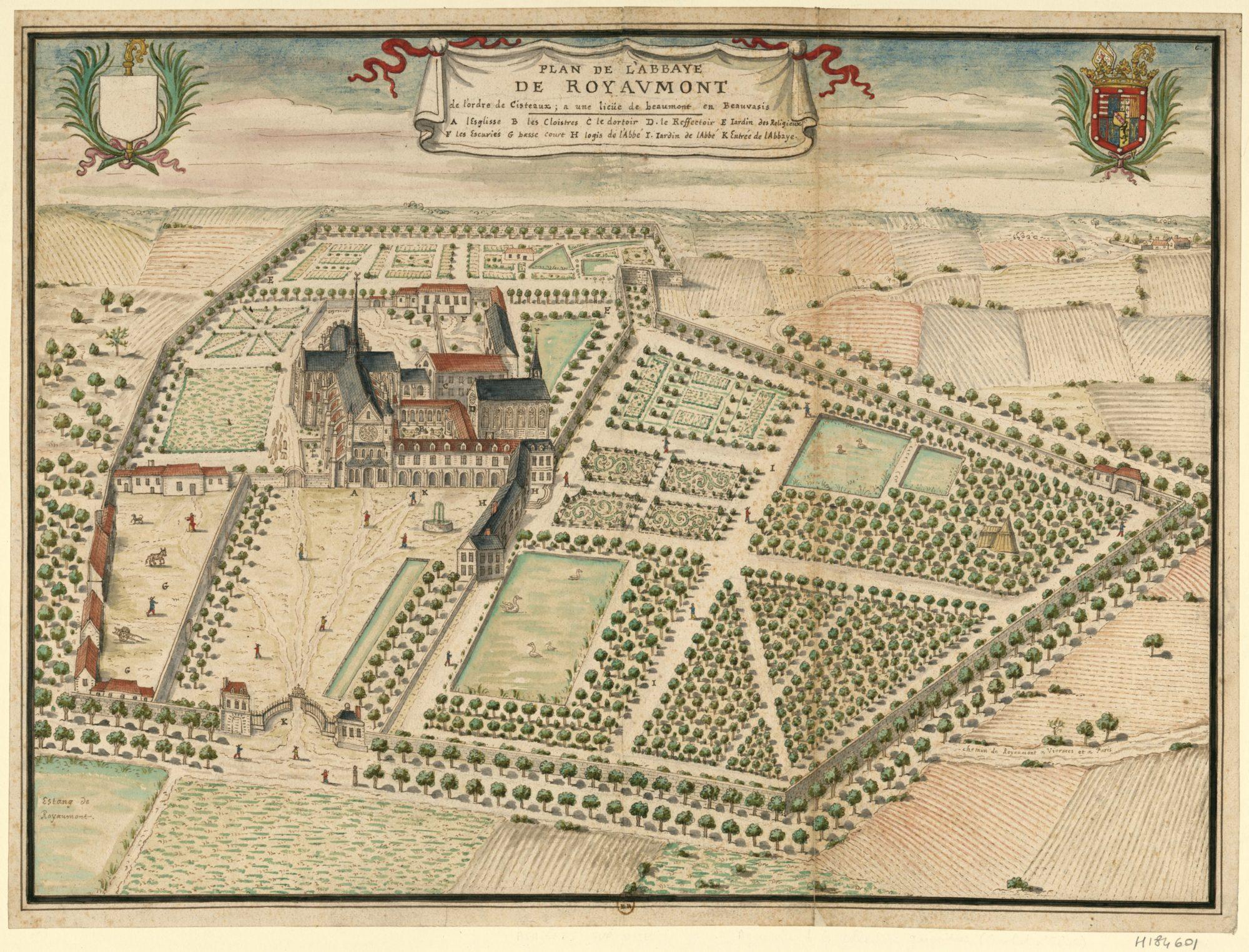 Royaumont, abbaye royale dans le Beauvaisis […] vers 1704, par Louis Boudan © Bibliothèque nationale de France