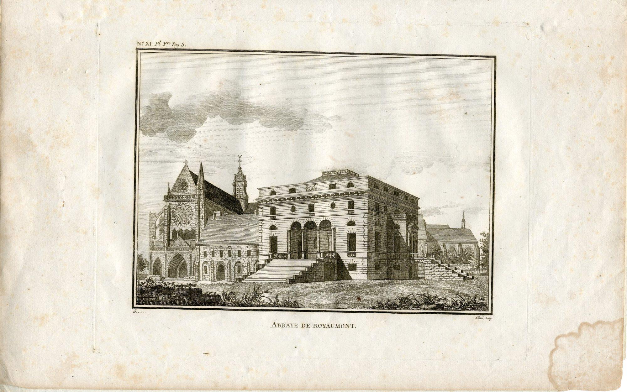 Vue de l'église et du palais abbatial de Royaumont